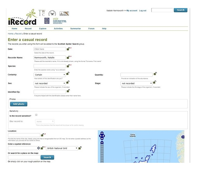 Scottish Spider Search record submission page